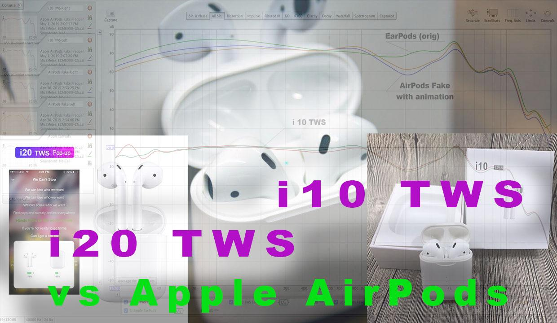 Как звучат FAKE Apple AirPods - i10 TWS, i20 TWS, fake AirPods с анимацией и другие. АЧХ / Frequency Response