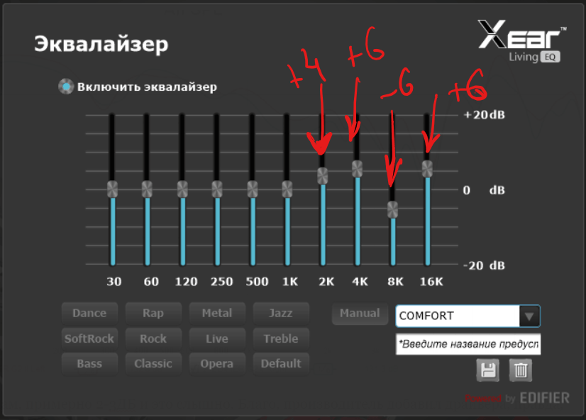 EQUALIZER - АЧХ - Frequency Response EDIFIER G2 II